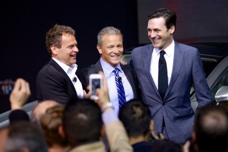 Tobias Moers, CEO & Chairman, AMG; Steve Cannon, President & CEO, MBUSA and Jon Hamm, Mad Men Star at the world premiere of the S63 AMG Coupe.